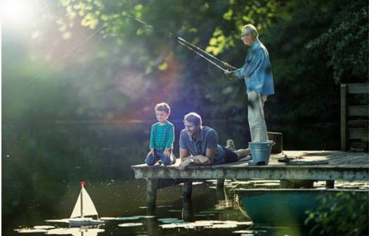grandfather and father fishing with coa