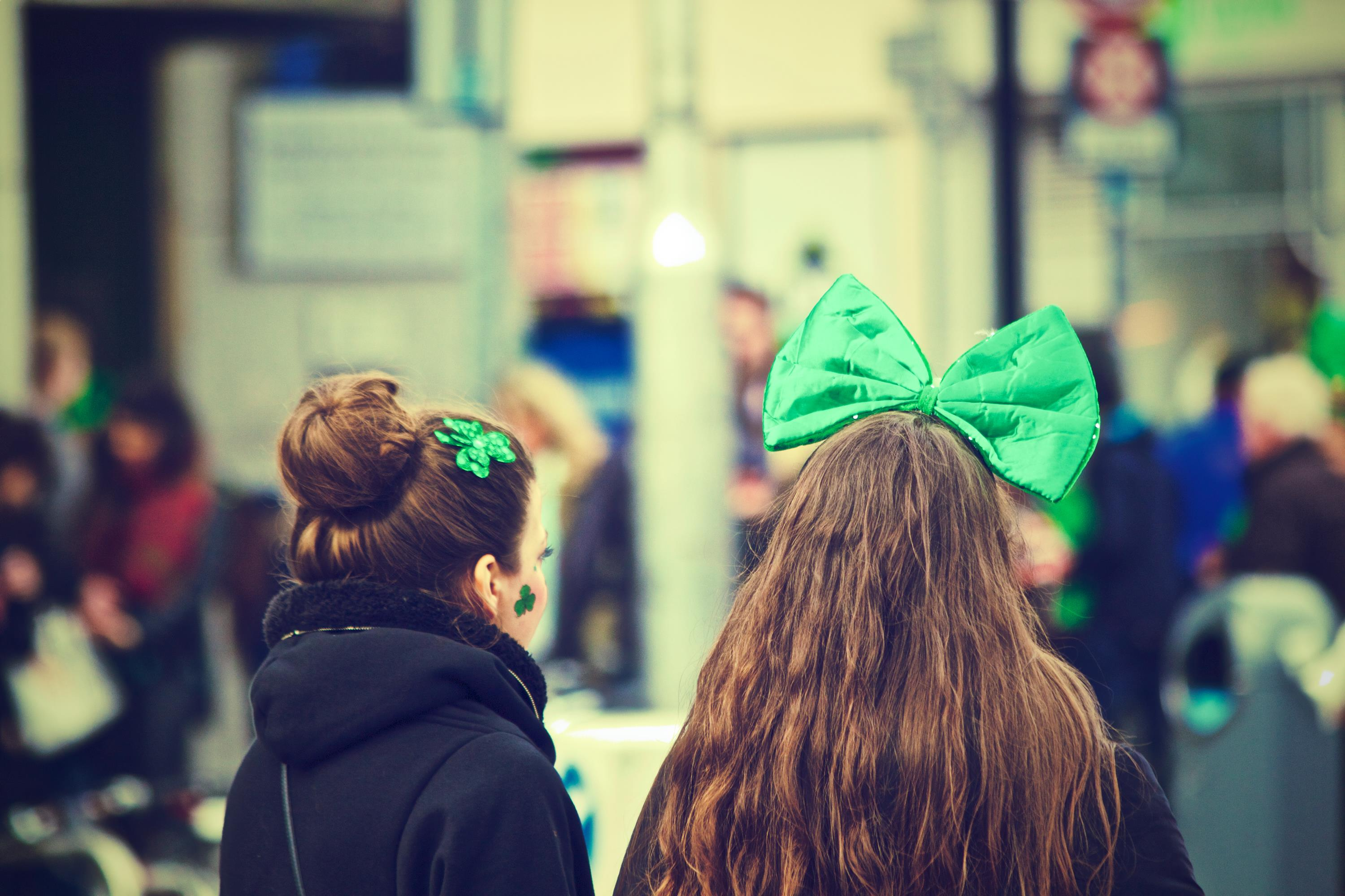 two girls dressed to celebrate saint patricks day